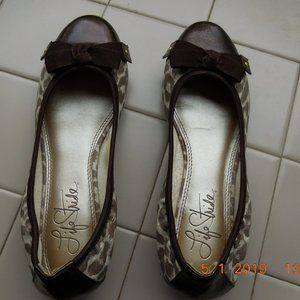 Life Stride Ballet Flat Shoe Brown/Tan Sz 6.5 EUC